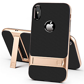 cheap Phones & Accessories-Case For Apple iPhone XS / iPhone XR / iPhone XS Max with Stand Back Cover Solid Colored Hard PC