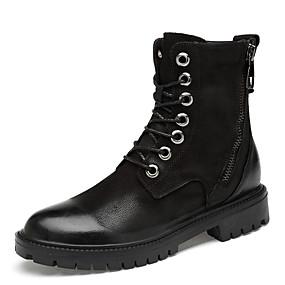 levne Větší obuv-Pánské Fashion Boots Nappa Leather Zima Na běžné nošení / Bristké Boty Zahřívací Kotníčkové Černá / Martin Boots / Venkovní / Obuv military styl