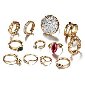 billige Vintage Ring-Dame Knokering Ring Set Midiringe Krystall 12pcs Gull Legering Rund Geometrisk Form Statement damer Bohemsk Aftenselskap Maskerade Smykker Vintage Stil Dråpe Kul Smuk