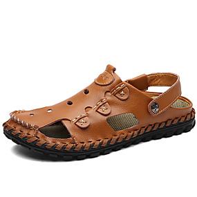 levne Větší obuv-Pánské Komfortní boty Kůže Léto Vintage / Na běžné nošení Sandály Prodyšné Černá / Hnědá / Venkovní