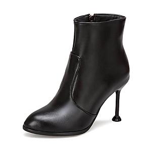 voordelige Wijdere maten schoenen-Dames Fashion Boots PU Herfst winter minimalisme Laarzen Naaldhak Ronde Teen Korte laarsjes / Enkellaarsjes Wit / Zwart / Rood Licht / Bruiloft / Feesten & Uitgaan