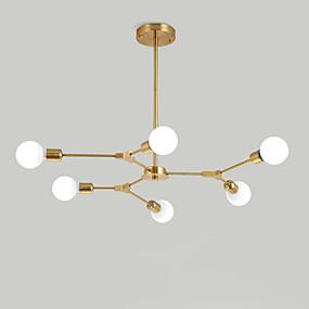 cheap Chandeliers-6-Light Electroplated Northern Europe Chandelier 6-Head Modern Metal Molecules Pendant Lights Living Room Dining Room Bedroom