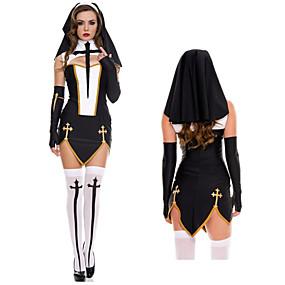 preiswerte Spielzeug & Hobby Artikel-Nonne Kleid Erwachsene Damen Kleider Halloween Weihnachten Halloween Maskerade Fest / Feiertage Terylen Weiß / Schwarz / Golden Weiblich Karneval Kostüme Solide