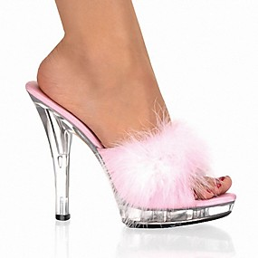 cheap Fashion Slippers-Women's Slippers & Flip-Flops Crystal Sandals Peep Toe Crystal / Feather PVC Classic / Lucite Heel Summer Black / White / Red / Party & Evening