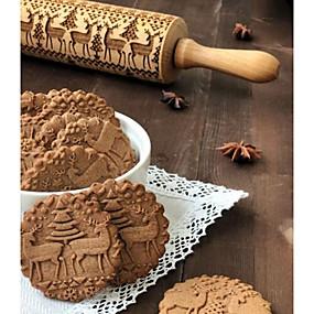 preiswerte Küche & Utensilien-1pc Holz Weihnachten Neuankömmling Plätzchen Tier Teigrolle Backwerkzeuge