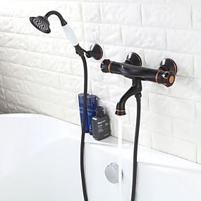 voordelige Vintage kranen-Badkraan / Tub Kranen - Antiek Olie-Gewreven Brons Bad en douche Messing ventiel Bath Shower Mixer Taps / Twee handgrepen drie gaten