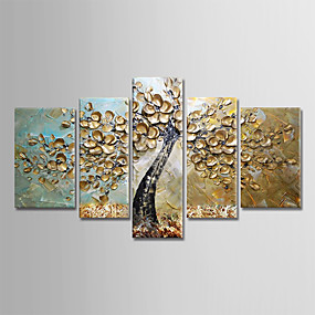 cheap Abstract Paintings-Oil Painting Hand Painted Floral / Botanical Modern Stretched Canvas / Five Panels With Stretched Frame