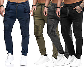 cheap Yoga & Fitness-Men's Running Pants Lace up Pocket Pants / Trousers Thermal Warm Breathable Stripes Dark Grey Black Army Green Nylon Fitness Gym Workout Running Winter Plus Size Sports Activewear Stretchy Regular Fit