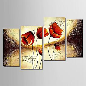povoljno Slike za cvjetnim/biljnim motivima-Hang oslikana uljanim bojama Ručno oslikana - Cvjetni / Botanički Moderna Uključi Unutarnji okvir / Četiri plohe / Prošireni platno