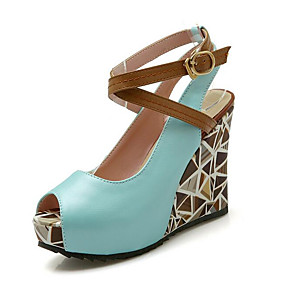 preiswerte Sandalen mit Keilabsatz-Damen Sandalen Keilabsatz Kunststoff Sommer Weiß / Grün / Blau