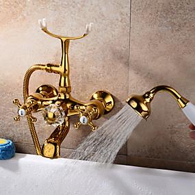 preiswerte Renovierung-Badewannenarmaturen - Antike Wandmontage Keramisches Ventil Bath Shower Mixer Taps / Zwei Griffe Ein Loch