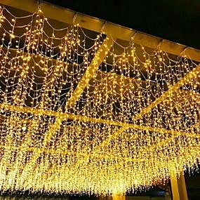 povoljno LED svjetla u traci-4m žica svjetla 96 led zavjesa svjetlo topla bijela plava bijela rgb 8 načina božićni ukrasni vrt ukras dvorišta svjetiljka vanjska vodootporna 220-240 v 110v-120 1 set