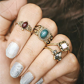 billige Vintage Ring-Dame Ring Set Midiringe Stable Ringer 4stk Gull Harpiks Legering damer Punk Romantikk Bar Festival Smykker Vintage Stil