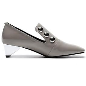 voordelige Damesinstappers & loafers-Dames Loafers & Slip-Ons Comfort schoenen Heterotypic Heel Gesloten teen  Lakleer Zomer Zwart / Grijs / Dagelijks
