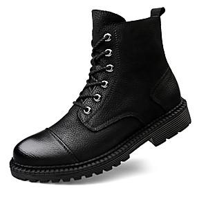 levne Větší obuv-Pánské Fashion Boots Nappa Leather Zima Na běžné nošení / Bristké Boty Zahřívací Kotníčkové Černá / Venkovní / Obuv military styl