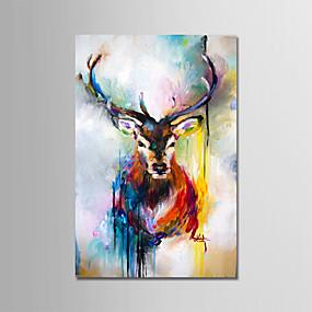 voordelige Schilderijen van dieren-Hang-geschilderd olieverfschilderij Handgeschilderde - Abstract Modern Inclusief Inner Frame / Uitgerekt canvas