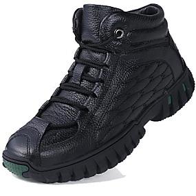 levne Větší obuv-Pánské Fashion Boots Kůže Zima Vintage / Na běžné nošení Boty Zahřívací Kotníčkové Černá / Hnědá / Venkovní / Obuv military styl