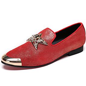 levne Větší obuv-Pánské Kožené boty Nappa Leather Jaro Bristké Nokasíny Neklouzavá Červená / Kancelář a kariéra / Společenské boty / Mokasíny