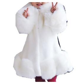 preiswerte Baby & Kinder-Kinder Mädchen Grundlegend Solide Langarm Kunst-Pelz Anzug & Blazer Schwarz