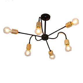 preiswerte Vintage Barbeleuchtung-QINGMING® 6-Licht Mini Kronleuchter Raumbeleuchtung Lackierte Oberflächen Metall Holz / Bambus Ministil 110-120V / 220-240V