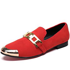 levne Větší obuv-Pánské Společenské boty Nappa Leather Jaro Bristké Nokasíny Neklouzavá Černá / Červená / Kancelář a kariéra / Kožené boty / Mokasíny