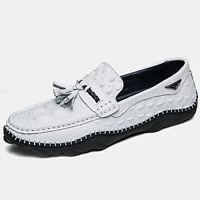 levne Větší obuv-Pánské Mokasíny Nappa Leather Podzim Na běžné nošení / Bristké Nokasíny Masáž Černá / Bílá / Kancelář a kariéra