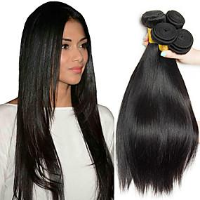 preiswerte Human Hair Weaves-4 Bündel Malaysisches Haar Glatt Echthaar Menschenhaar spinnt Erweiterung Bundle Haar 8-28 Zoll Naturfarbe Menschliches Haar Webarten seidig Sanft Haarverlängerungen / 8A