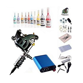 cheap Starter Tattoo Kits-BaseKey Tattoo Machine Starter Kit - 1 pcs Tattoo Machines with 10 x 5 ml tattoo inks, Professional Mini power supply 1 steel machine liner & shader