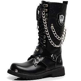 voordelige Wijdere maten schoenen-Heren Fashion Boots Synthetisch Winter Vintage / Informeel Laarzen Houd Warm Knielaarzen Zwart / ulko- / Legerlaarzen