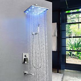 preiswerte Duscharmaturen-Duscharmaturen / Waschbecken Wasserhahn - Moderne Chrom Wandmontage Messingventil Bath Shower Mixer Taps / Einhand-Vierloch