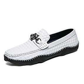 levne Větší obuv-Pánské Mokasíny Nappa Leather Jaro Klasické / Na běžné nošení Nokasíny Masáž Černá / Bílá / Kancelář a kariéra
