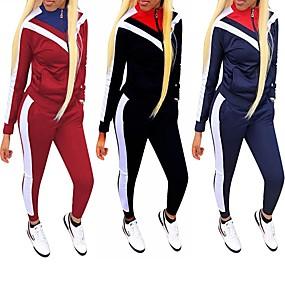 cheap Running & Jogging-Women's Patchwork Tracksuit Streetwear Casual Long Sleeve Winter Lightweight Butt Lift 4 Way Stretch Zumba Fitness Gym Workout Running Sportswear Plus Size Tights Athleisure Wear Top Black Burgundy