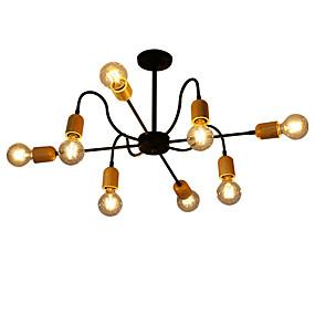 preiswerte Vintage Barbeleuchtung-QINGMING® 8-Licht Mini Kronleuchter Raumbeleuchtung Lackierte Oberflächen Metall Holz / Bambus Ministil 110-120V / 220-240V