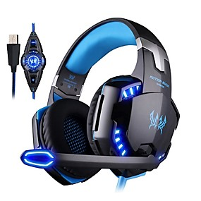 cheap Gaming Tribe-Kotion EACH G2200 Computer Stereo Gaming Headphones Best Casque Deep Bass Gaming Earphone Headset with Microphone Volume Control LED Light for PC Gamer