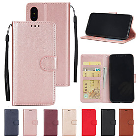 cheap Phones & Accessories-Case For Apple iPhone XS / iPhone XR / iPhone XS Max Wallet / Card Holder / with Stand Full Body Cases Solid Colored Hard PU Leather