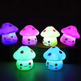 cheap 3D Night Lights-LED Night Light 3pc Colorful Mushroom Room Bedside Lamp for Baby Kids Christmas Gifts
