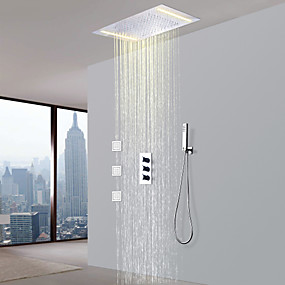 preiswerte Duscharmaturen-Duscharmaturen - Moderne Chrom Messingventil Bath Shower Mixer Taps / Drei Griffe Fünf Löcher