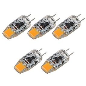 cheap LED Bi-pin Lights-5pcs 2 W LED Bi-pin Lights 180 lm G4 T 1 LED Beads COB Decorative Warm White White 12 V