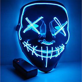 billige Spesialtilbud-halloween maske motorsykkel maske førte opplyst fest maske klart valg år stor morsom maske festival cosplay kostyme forsyninger lyser i mørket