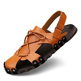 levne Větší obuv-Pánské Komfortní boty Nappa Leather Léto Vintage / Na běžné nošení Sandály Prodyšné Černá / Hnědá / Venkovní