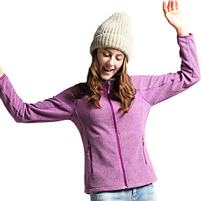 cheap Camping, Hiking & Backpacking-Women's Hiking Fleece Jacket Winter Outdoor Thermal / Warm Windproof Breathable Anatomic Design Winter Jacket Fleece Single Slider Fishing Camping / Hiking / Caving Traveling Purple / Fuchsia / Grey