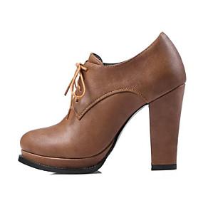 voordelige Dames Oxfords-Dames Comfort schoenen PU Herfst Oxfords Blokhak Gepuntte Teen Zwart / Grijs / Kameel