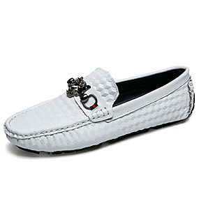 levne Větší obuv-Pánské Mokasíny Nappa Leather Podzim Klasické / Na běžné nošení Nokasíny Masáž Černá / Bílá / Modrá / Kancelář a kariéra