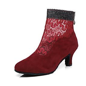 저렴한 댄스 신발-여성용 댄스 신발 레이스 / Synthetics 댄스 부츠 버클 / 레이스 / 양면 속이 빈 힐 큐반 힐 블랙 / 라이트 레드 / 성능 / 연습용 / EU40