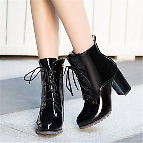 billige Mote Boots-Dame Fashion Boots PU Vinter Støvler Tykk hæl Rund Tå Støvletter Svart / Rød / Blå / Fest / aften