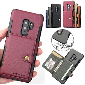 cheap Phones & Accessories-Case For Samsung Galaxy S9 / S9 Plus / S8 Plus Card Holder / Magnetic Back Cover Solid Colored Hard PU Leather