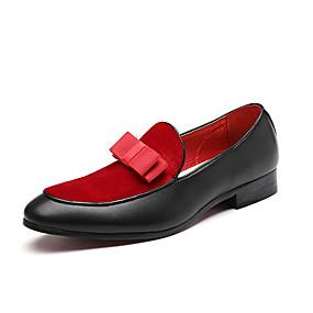 levne Větší obuv-Pánské Komfortní boty Umělá kůže Podzim zima Na běžné nošení / Čínské vzory Nokasíny Neklouzavá Černá / Červená / Party