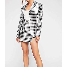 preiswerte Damenbekleidung-Damen Street Schick Set - Schachbrett Hemdkragen Rock