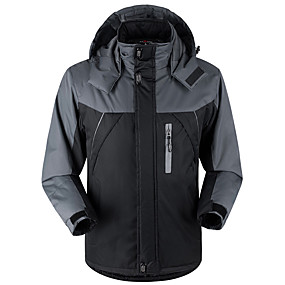 cheap Under €49-Men's Hiking Jacket Hiking Windbreaker Winter Outdoor Thermal / Warm Windproof Breathable Rain Waterproof Velvet Winter Jacket Top Ski / Snowboard Climbing Camping / Hiking / Caving Black Army Green
