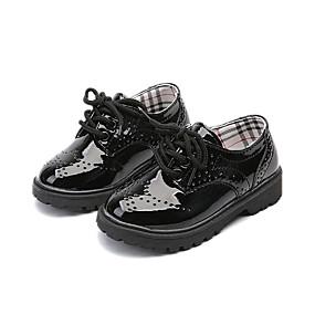 ราคาถูก Kids' Oxfords-เด็กผู้ชาย / เด็กผู้หญิง ความสะดวกสบาย PU รองเท้า Oxfords เด็กวัยหัดเดิน (9m-4ys) / เด็กน้อย (4-7ys) / Big Kids (7 ปี +) ลูกไม้ขึ้น สีดำ / สีดำและสีขาว ตก / ยาง